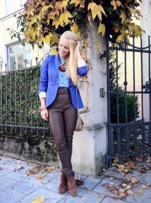 blauer schlichter langer Blazer