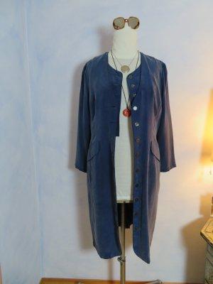 Blauer Seidenmantel  Betty Barclay 100% Seide geknöpftes Seidenkleid Hemdkleid Gehrock M L XL 80s Vintage