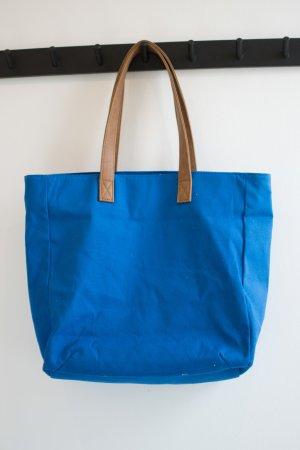 Borsa shopper blu fiordaliso-marrone Cotone
