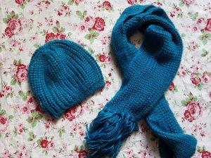 Blauer Strickschal & Mütze
