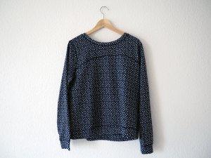 Blauer Sweater aus leichtem Frottee mit Muster, M