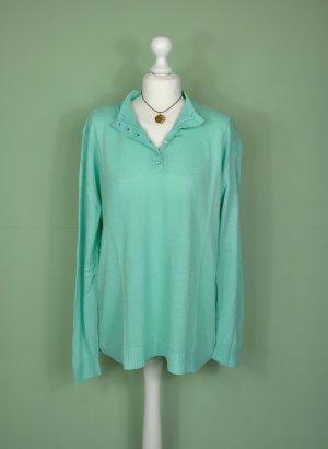 Blauer / Türkiser Vintage Pullover mit Knopfleiste