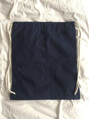 Blauer Turnbeutel mit beigen Trägern NEU