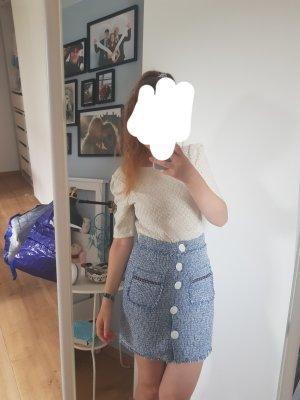 Tweed rok wit-korenblauw