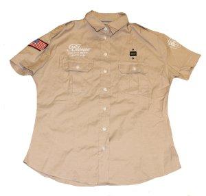 BLAUER USA Hemd Bluse beige kurzarm Gr. 42/44