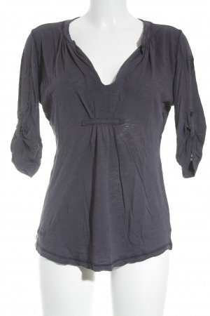 Blauer Camisa con cuello V azul oscuro estilo sencillo