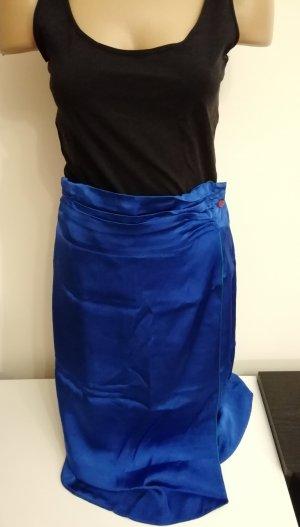 blauer Vintage Seiden Rock in Größe 38