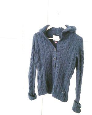 blauer wollpulli / strickpullover / hoodie / vintage / zopfmuster