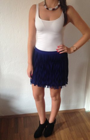 Zara Fringed Skirt blue polyester
