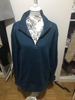 Blauer Zipper Pullover Pulli Sweater Neu oversize Boyfriend