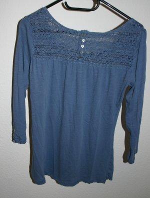 blaues 3/4 Oberteil, bequem, 100% Baumwolle