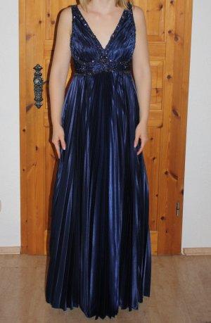 Blaues Abendkleid mit Pailetten- und Ziersteinapplikationen