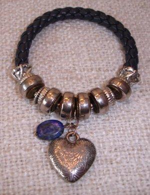 Leather Bracelet blue-silver-colored