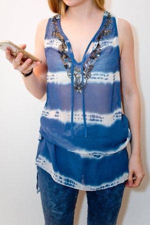 Blaues Batikkleid Batiktop mit Glitzerapplikation