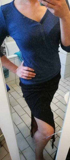 Blaues Baumwoll-Basic-Shirt S 36