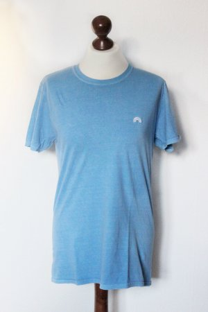 Blaues besticktes Regenbogen Rainbow Shirt Embroidery Urban Outfitters 36 S Blogger