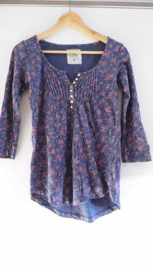 Blaues Blumen-Shirt mit 3/4 Arm