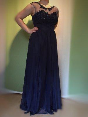 Blaues bodenlanges Abendkleid mit besticktem Oberteil, Gr. 40