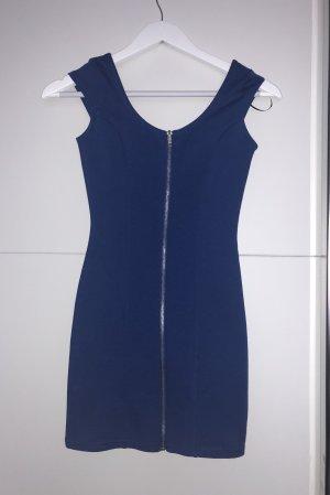 Blaues Bodycon Kleid mit Reisverschluss