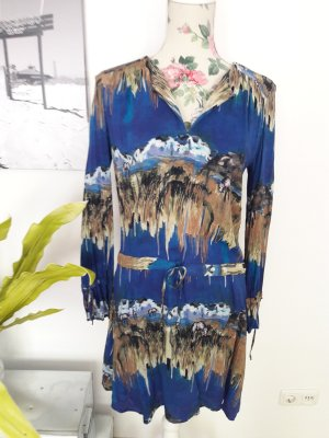 Blaues Boho Sommerkleid mit langen Ärmeln