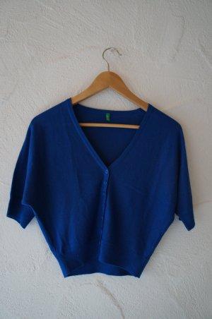 Blaues Bolero Strickjäckchen 1/2 Ärmel Benetton Größe XS