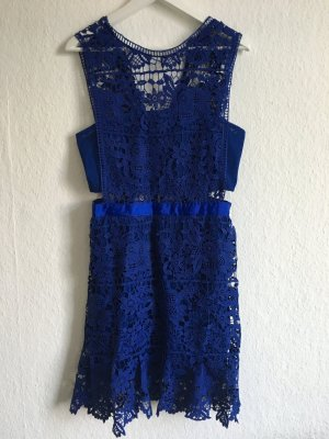 Blaues Cocktail Kleid mit Cutouts und Spitze