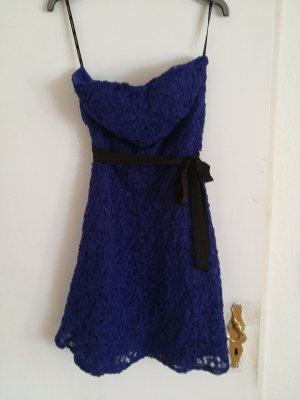 Morgan Off the shoulder jurk zwart-blauw
