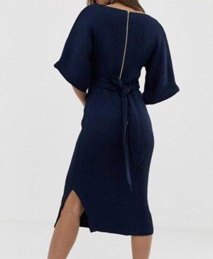 Blaues Cocktailkleid mit Schleife - Closet London