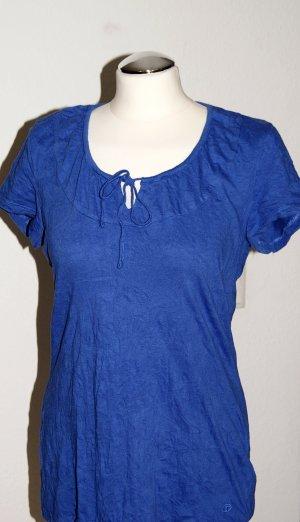 Blaues Crinkle-Shirt mit kurzen Ärmeln