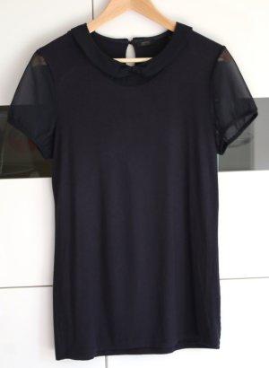 blaues ESPRIT T-Shirt mit transparenten Ärmeln (Gr. 38/40)