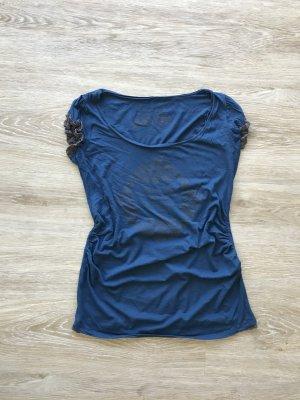 blaues Fornarina Shirt mit grauen Spitzendetails