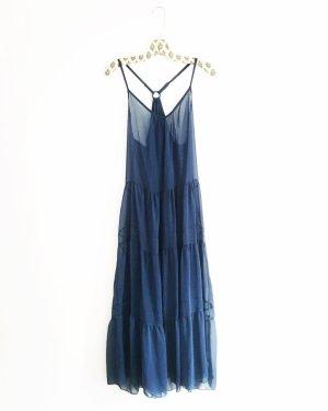 blaues hippie kleid / boho / vintage / chiffong / maxikleid