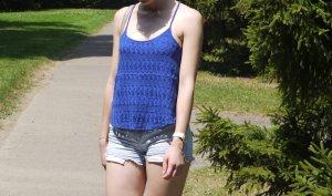 Blaues Hollister Camisole Top mit Spitze Gr. S