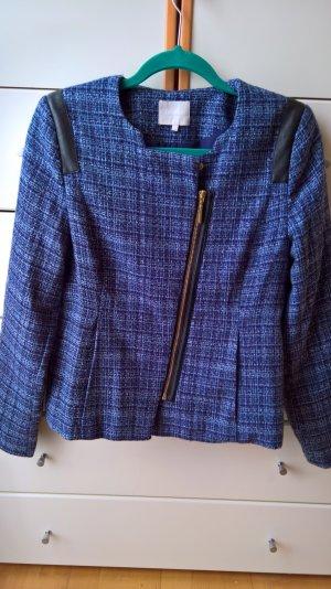 Blaues Jacket in Steppoptik mit Reißverschluss