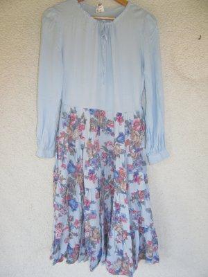 blaues Kleid Blumen Vintage Retro Gr. 42