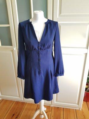 Blaues Kleid mit Ballonärmeln Gr. 36/38
