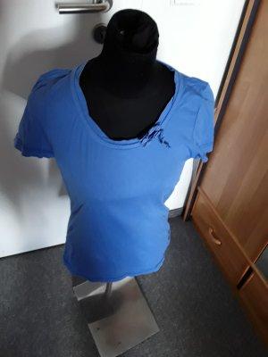 blaues Kurzarm-Tshirt von Tom Tailor - mit Schleife am Kragen - Größe M