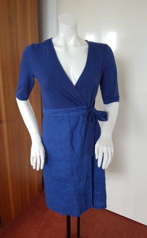 blaues Kurzarm Wickelkleid Baumwolle/Leinen