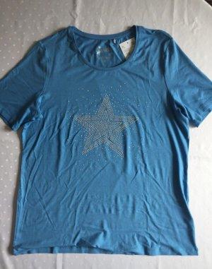 Blaues Kurzarmshirt mit Sternapplikation