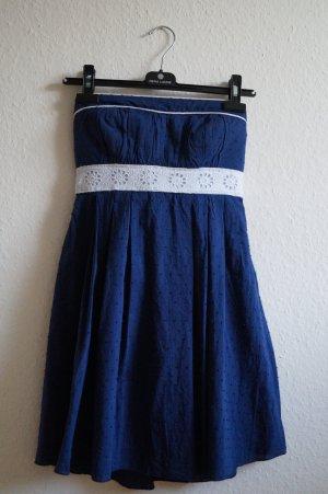 Vestido bandeau azul-blanco