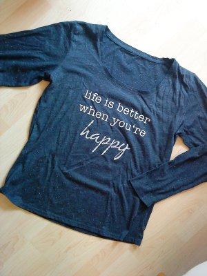 blaues Langarm-Shirt mit Schrift in L