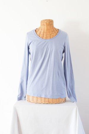 blaues Langarm-Shirt mit Seiden-Kragen