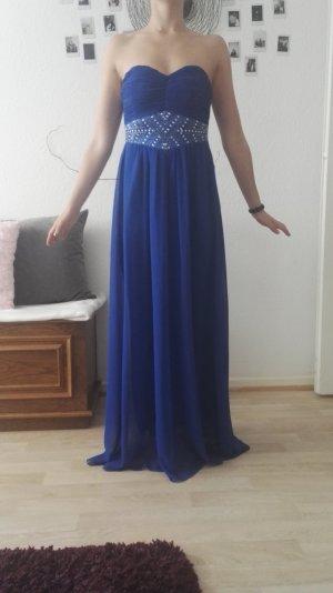 Blaues langes Abendkleid mit Strasssteinen