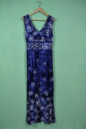 Blaues Langes Strandkleid / Urlaubskleid mit Blumen Print