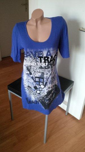 Blaues Longshirt mit Printdruck und Ziersteinen, Kobaldblau, Gr. 40