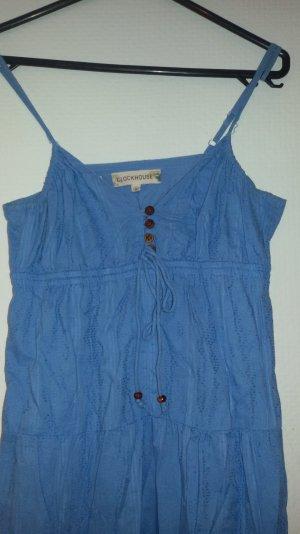 blaues MaxiKleid mit Holzknöpfen