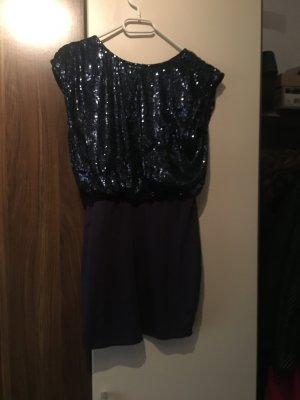 Blaues Mini Kleid mit Pailletten Größe. M Blau