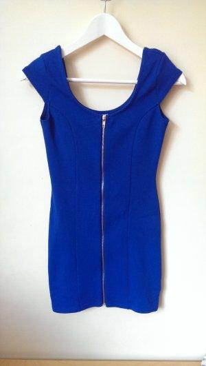 Blaues Minikleid mit Reisverschluss Vorne