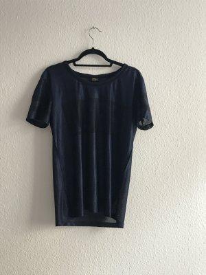 Blaues Netz Shirt Glänzend