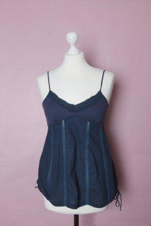 Haut à fines bretelles bleu-bleu foncé coton